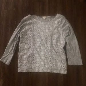 J.Crew gray and silver lace t-shirt
